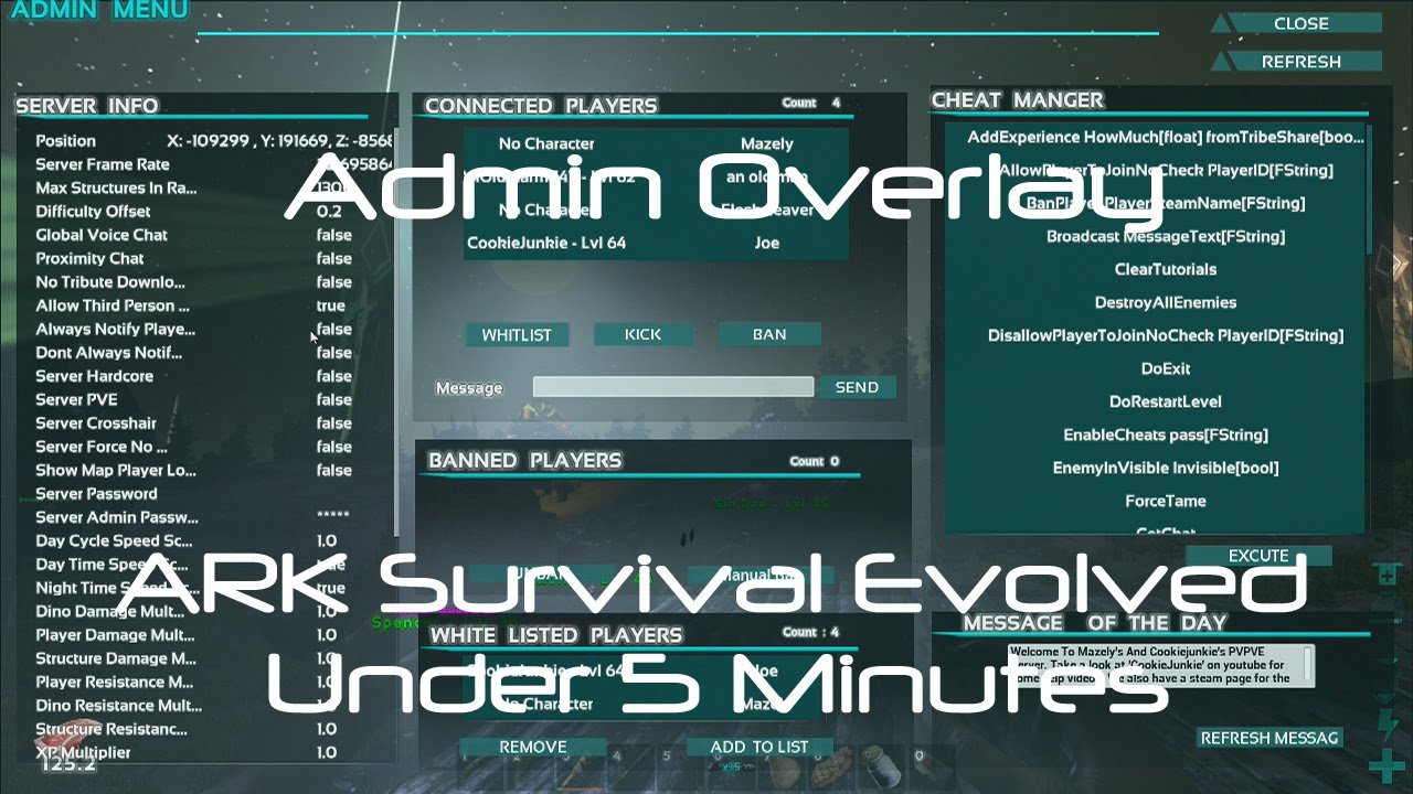 Ark survival dedicated server admin commands r