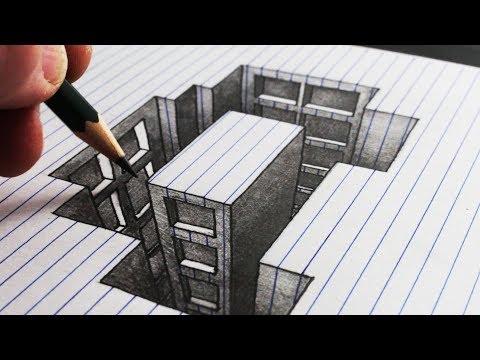 Bagaimana Menggambar Bangunan Lubang: Paper Line 3D Trick Art