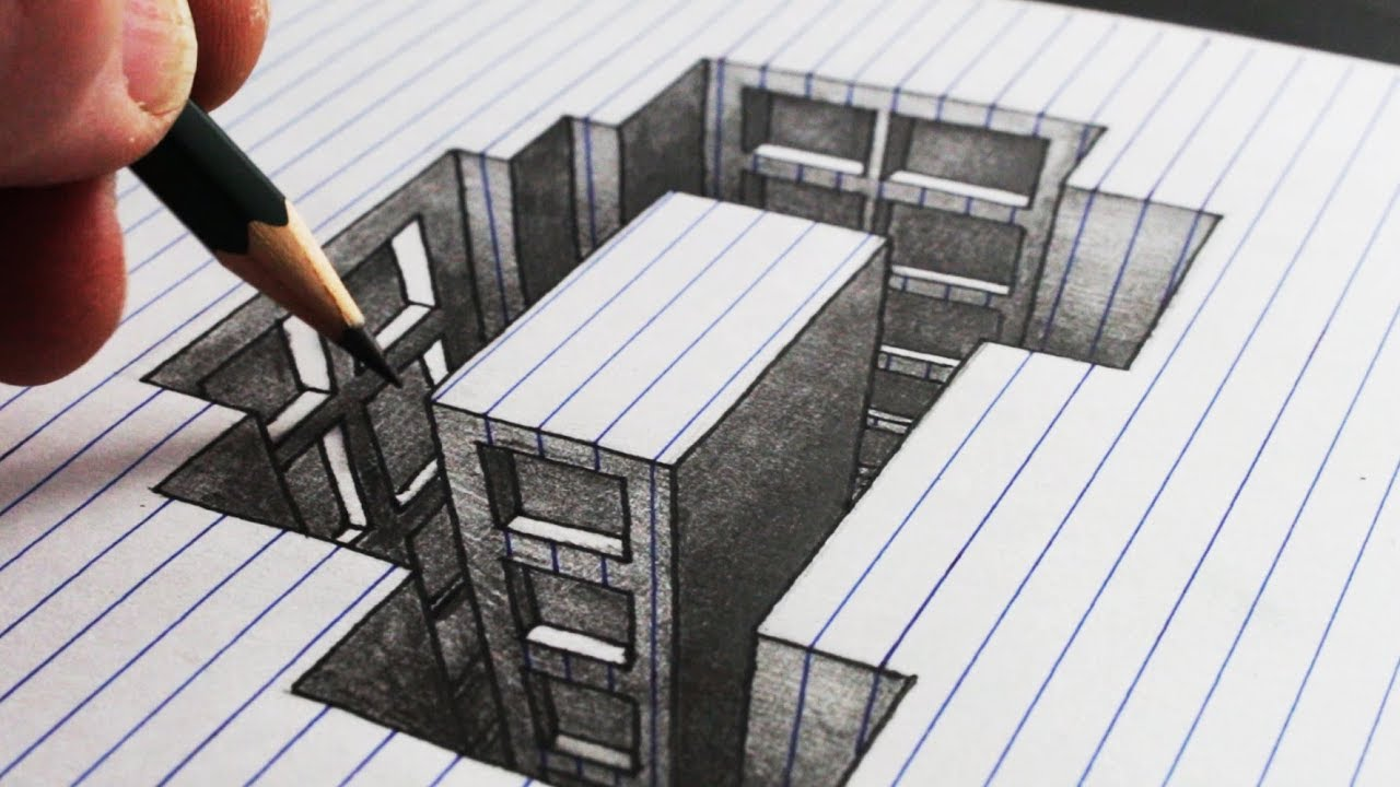 Non Vi Sed Arte In English How To Draw A Hole Building Line Paper 3d Trick Art