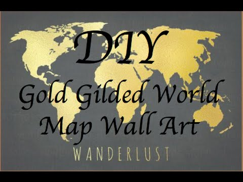 DIY TUMBLR Room Decor | WALL ART: Gold and Black World Map Canvas ...