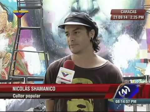 Nikolay Shamániko encabeza reparación de mural de Chávez en Unearte