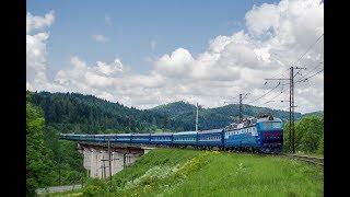 Електровоз ЧС7-124 з поїздом №108 Одеса - Ужгород на перегоні Ясениця - Бойківська