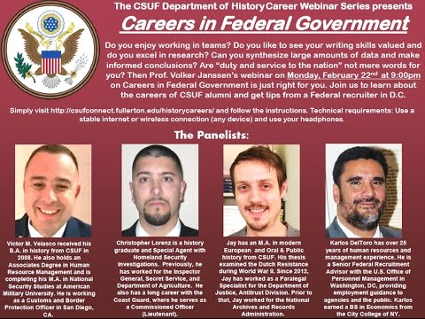 CSUF Careers in History Webinar - The Federal Government