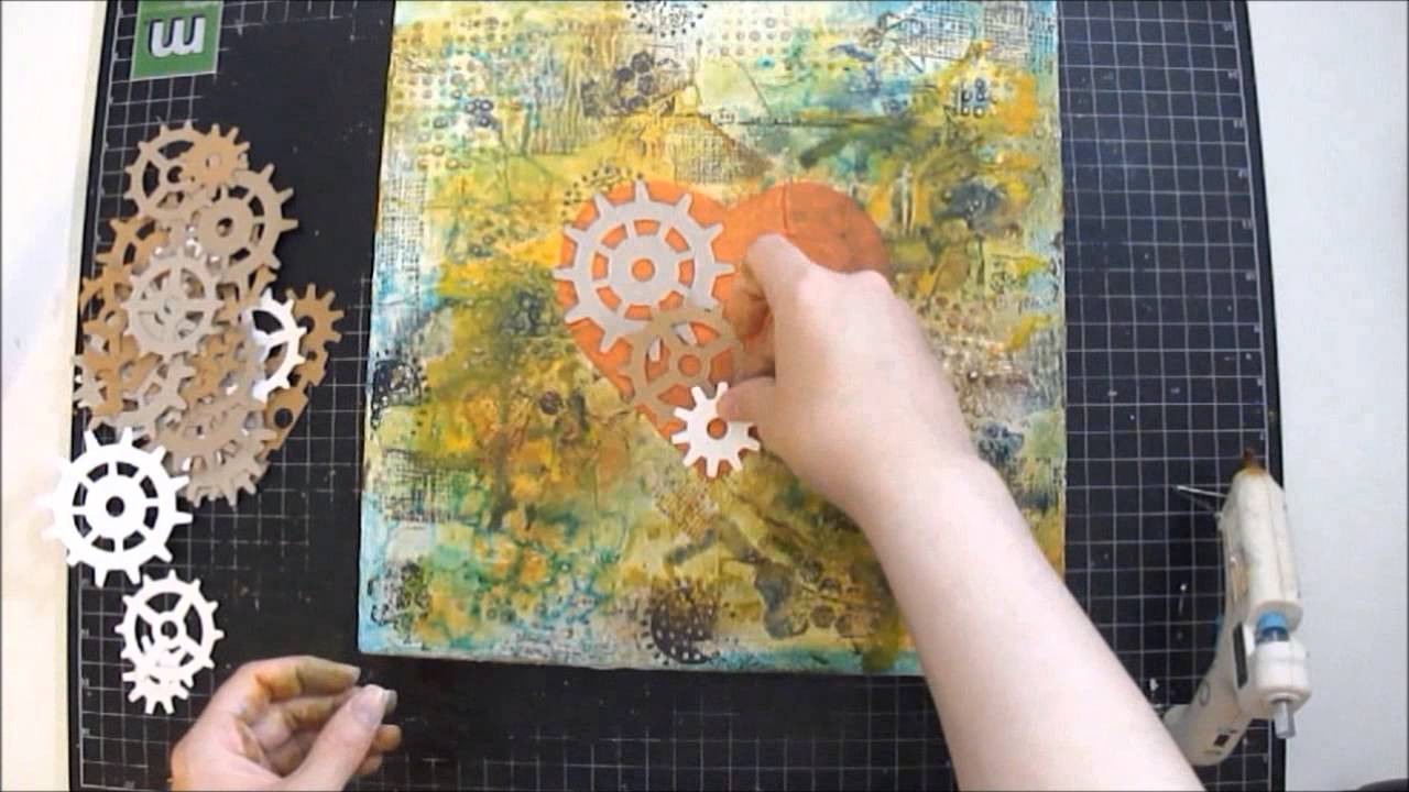 Mixed Media Art Canvas Collage Tutorial Industrial Heart