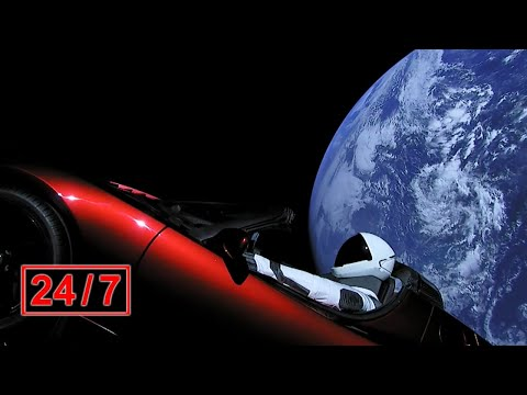 🚀Starman's Cosmic Journey: 24/7 Relaxing Music, Earth Views, Chat Community (new URL!)
