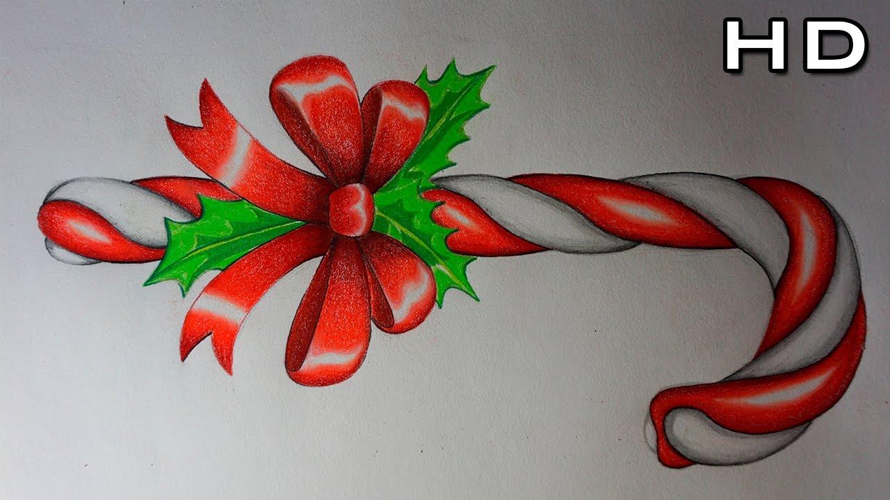 Dibujo De Un Lapiz De Color: Dibujo De Un Bastón Navideño Con Lápices De Colores