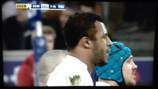 Lawes tackle on Plisson. England vs France Six Nations Rugby 2015