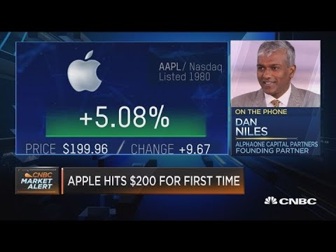 Apple stock hits $200 for the first time