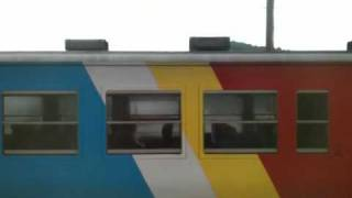田老駅でうみねこ号と遭遇