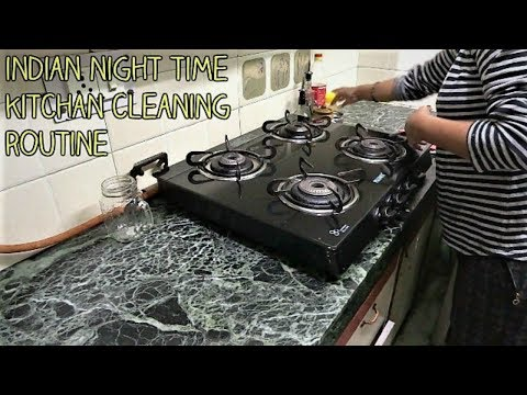 Indian night time kitchen cleaning routine 2017 in hindi , kitchen cleaning