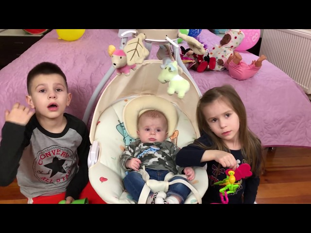 Lika and Marik play with BABY DOLLS and LITTLE BROTHER Video for Kids JoyJoy Lika
