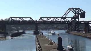 Boats And Trains - Ballard Locks / Ballard Draw Bridge - Seattle, Washington, USA