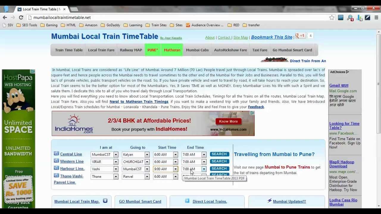 Mumbai Local Train Time Table, Western railway timeTable ...