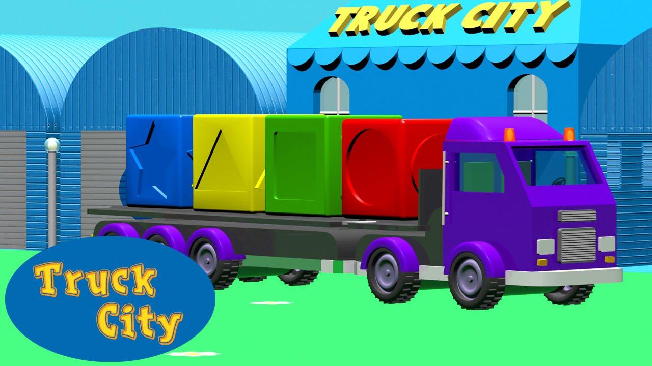 Invite culori si forme cu ajutorul camioanelor | Orasul Camioanelor desene pentru copii