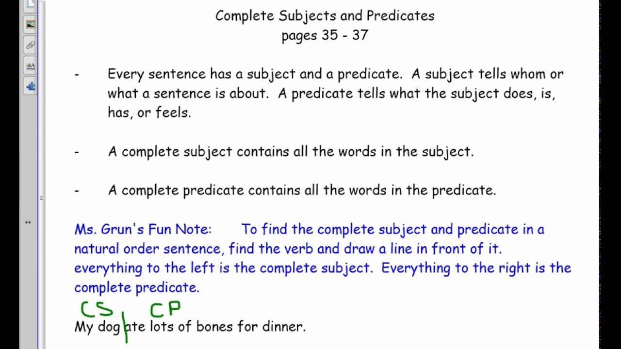 Complete Subjects And Predicates 6 Youtube