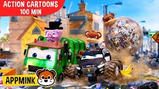 appMink Garbage Truck Police Car Police Helicopter Car Animations for kids