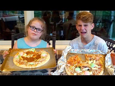 Pizza Challenge REMATCH! (MattyBRaps vs Sarah Grace)