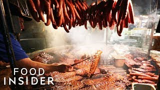 Famous Texas BBQ Cooks Meat Over A Giant Indoor Grill