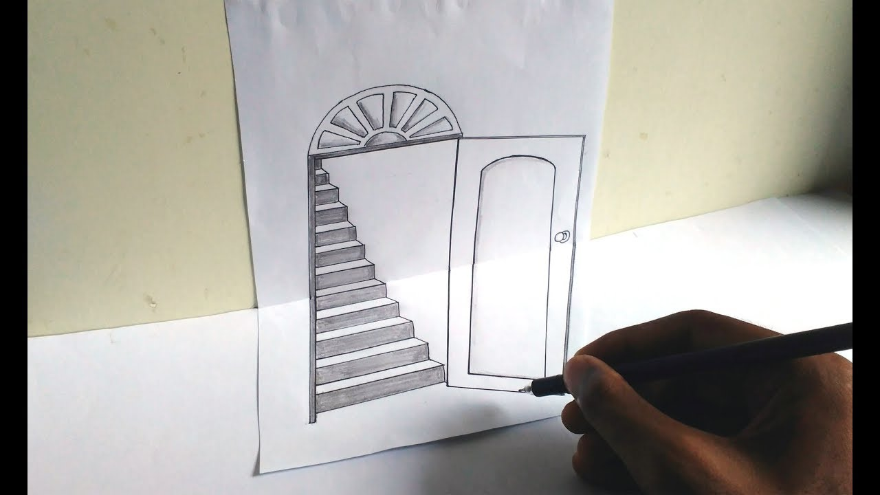open door drawing. How To Draw A 3d Open Door And Stairs Very Easily- Trick Art Illution /3d Drawing On Paper 03 N