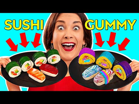 REAL FOOD VS GUMMY || Eating Worlds Largest Gummy! GIANT FOOD Tasting by 123 GO! Challenge