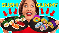 REAL FOOD VS GUMMY || Eating World's Largest Gummy! GIANT FOOD Tasting by 123 GO! Challenge