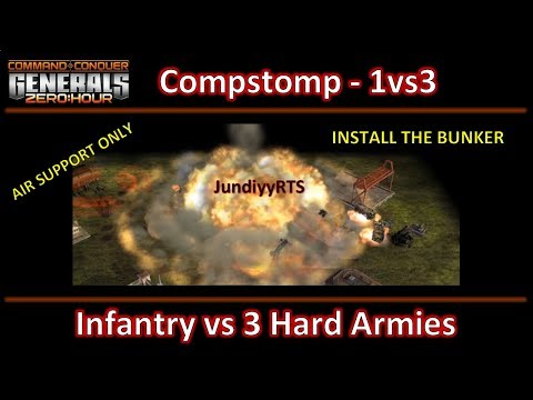 Zero Hour - Fast 1vs3 Hard Armies - Air Support Only - Infantry General