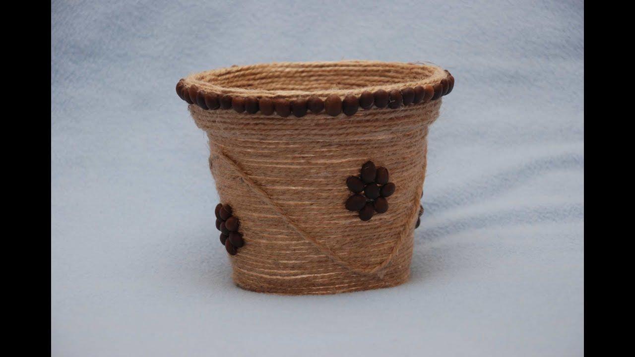 Декор цветочного вазона. DIY Decoration flower pot