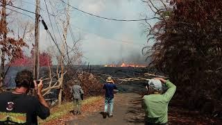 Leilani Estates Hawaii Kilauea Lava Flow Fountains Kahukai Update 5/22/2018 Part 10