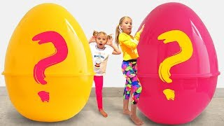 Kids want to play with new toys in Giant Surprise Eggs