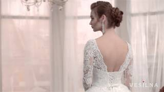 Кружевное свадебное платье А силуэт с шлейфом от VESILNA™ модель 3029