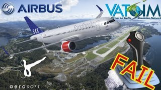 "Shared Cockpit Aerosoft A320 on Vatsim ""Airports of Norway"" ENGM - ENBR"