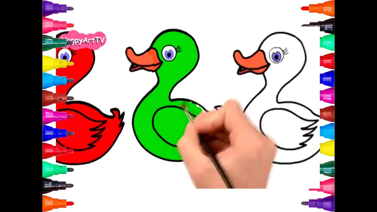 Learn Colors and Numbers with Drawing How to draw Fish and Duck ...