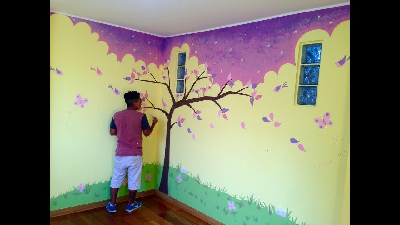 Como decorar un cuarto de bebe pintando arbol con aves en habitacion de recien nacido youtube - Ideas para pintar una habitacion de nino ...