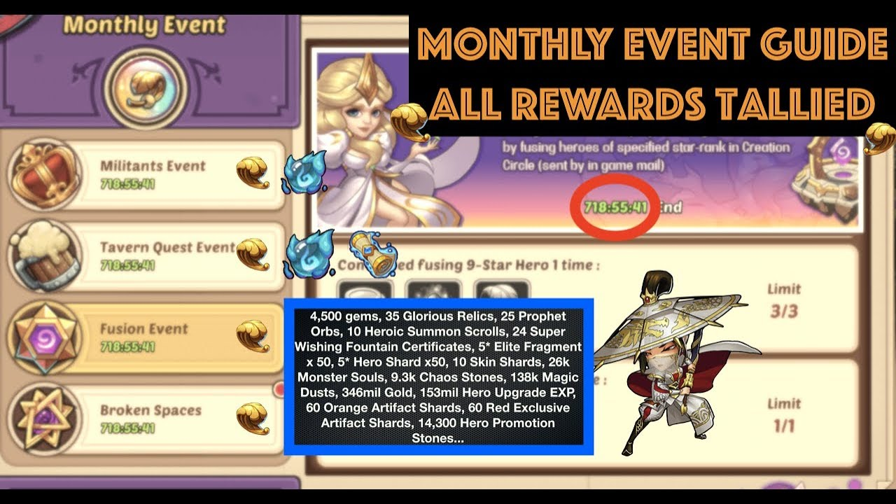 Idle Heroes Best Beginner Monthly Event Guide & Rewards Compilation