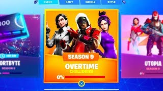 NEW SEASON 9 OVERTIME CHALLENGES in Fortnite.. (FREE REWARDS)