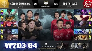 Golden Guardians vs 100 Thieves | Week 7 Day 3 S10 LCS Summer 2020 | GG vs 100 W7D3