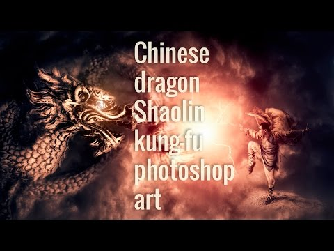Chinese dragon kung-fu fantasy photoshop art (timelapse 2h in 4min)