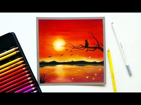 red-sunset-drawing-with-pastel-pencils-|-leontine-van-vliet