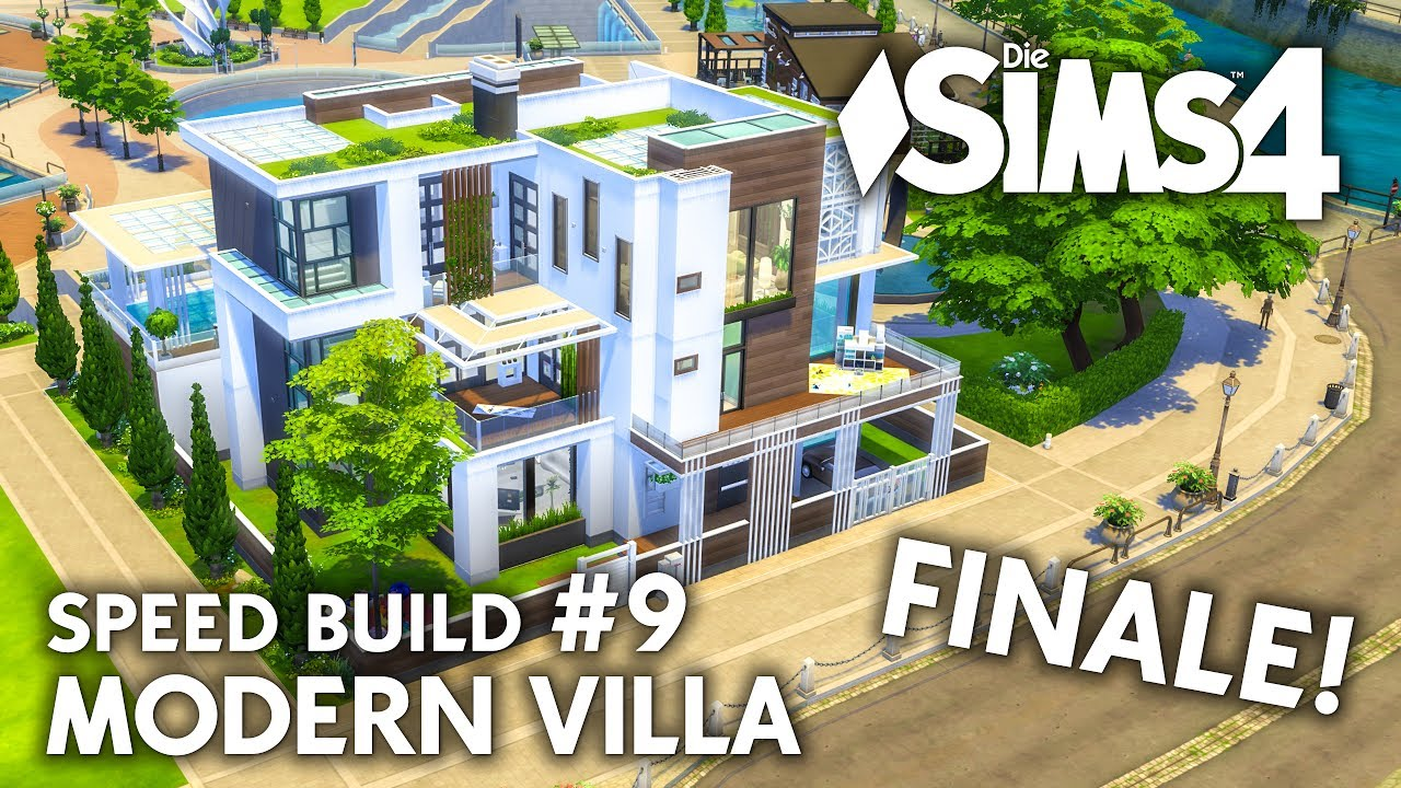 gro es die sims 4 familienhaus bauen modern villa 9 speed build youtube. Black Bedroom Furniture Sets. Home Design Ideas