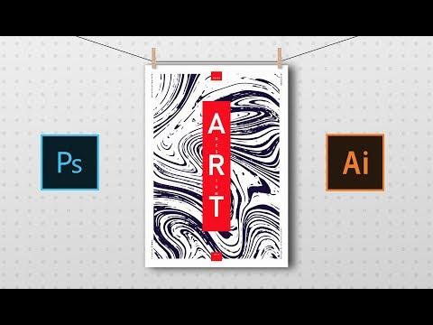 Marble Texture Poster Design | illustrator tutorial thumbnail