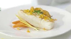 Steam-Grilled Cod with Chanterelle Mushrooms and Carrots