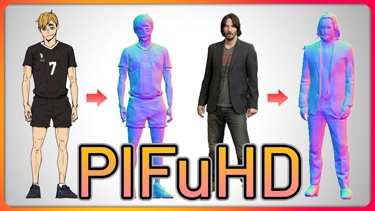 AI Generates 3D Human Model from 2D Image [PIFuHD - FacebookAI]