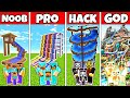 Minecraft: FAMILY WATERPARK BUILD CHALLENGE - NOOB vs PRO vs HACKER vs GOD in Minecraft Animations