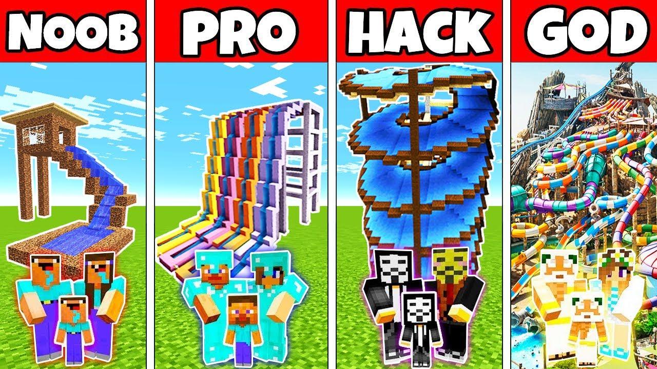 Download Minecraft: FAMILY WATERPARK BUILD CHALLENGE - NOOB vs PRO vs HACKER vs GOD in Minecraft Animations