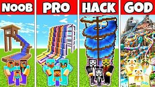 Minecraft: FAMILY WATERPARK BUILD CHALLENGE  NOOB vs PRO vs HACKER vs GOD in Minecraft Animations