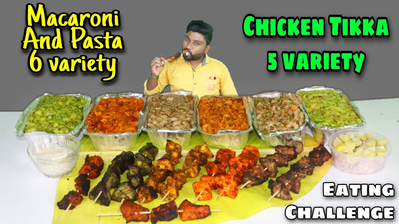 5 TYPES CHICKEN TIKKA & 6 PASTA AND MACARONI EATING CHALLENGE | GIVEAWAY | EATING CHALLENGE BOYS