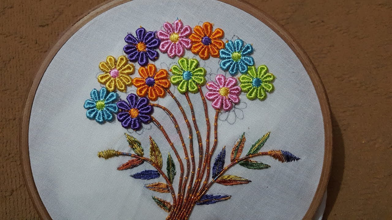 Hand embroidery flower designns stitch beautiful