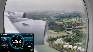Airbus A380-800 (388) Landing in Singapore. Speed and Altitude Recording