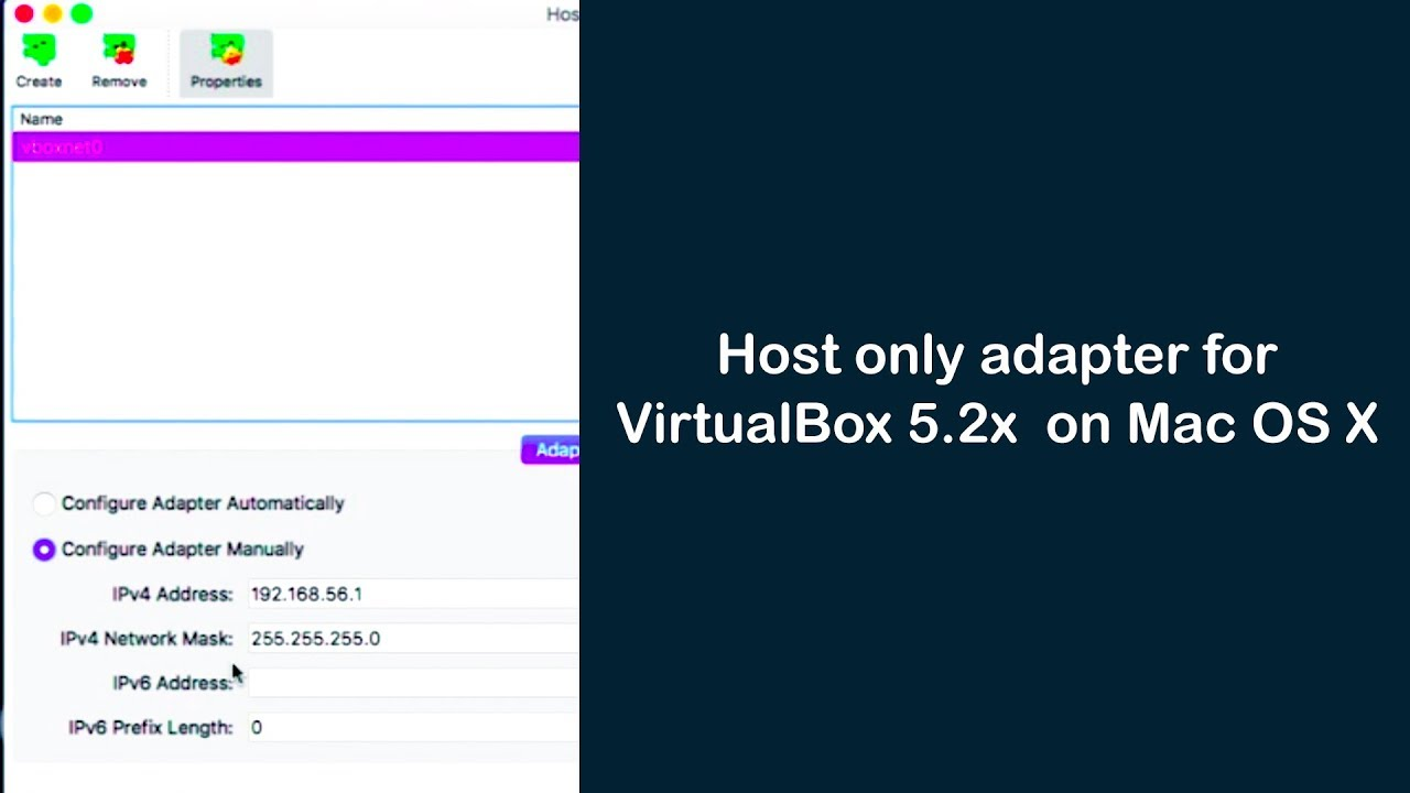 How to enable host only adapter for VirtualBox on Mac OS X