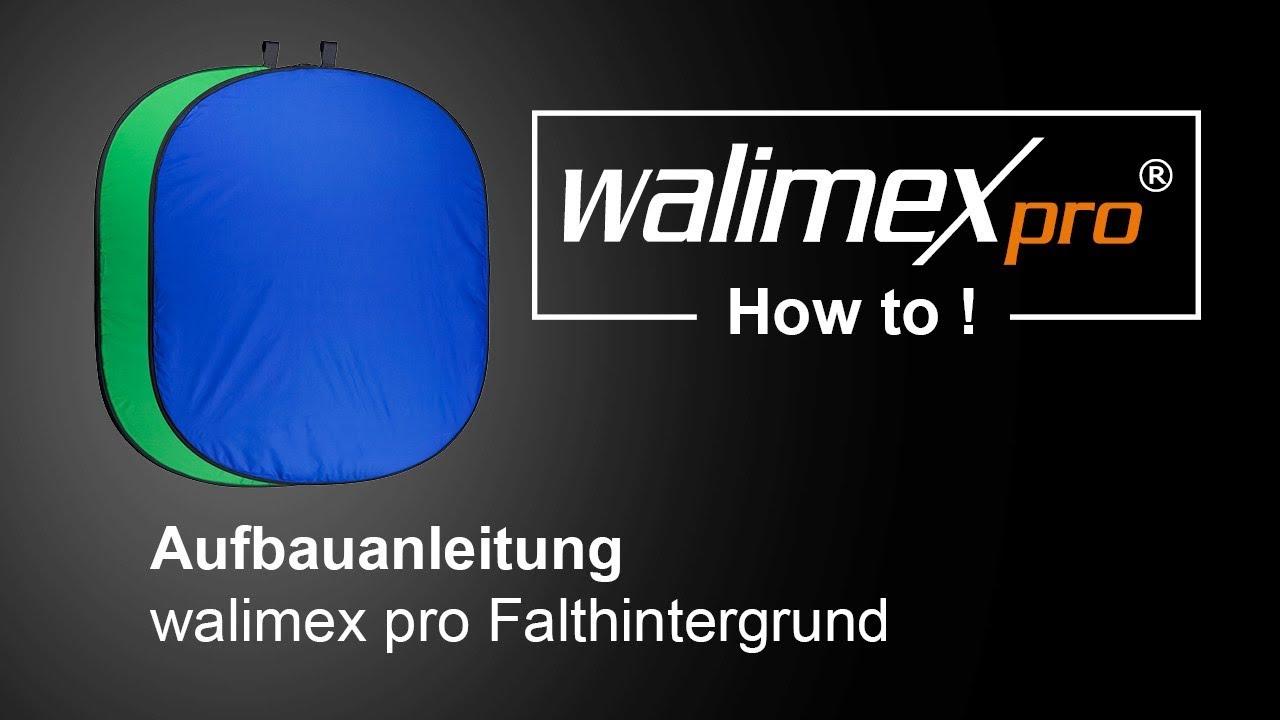 150x200cm walimex Falthintergrund blau auf ein Drittel faltbar mit Tasche